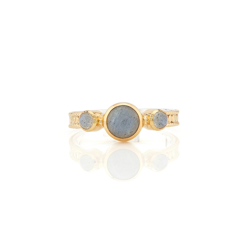 Labradorite Triple Stone Stacking Ring - Gold