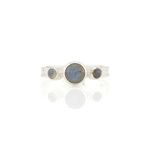 Labradorite Triple Stone Stacking Ring - Silver