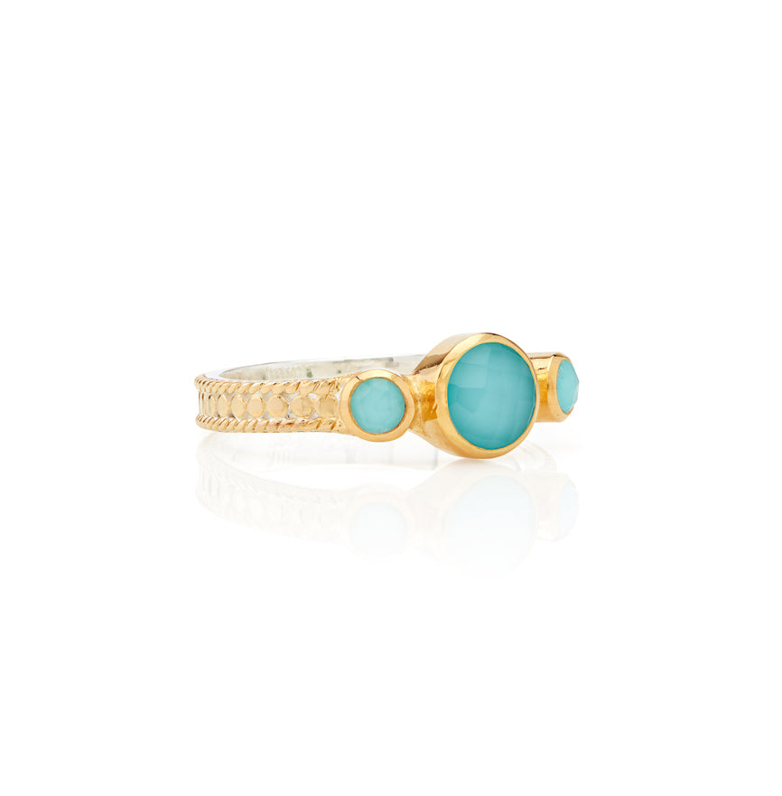 Limited Edition Turquoise Triple Stone Stacking Ring - Gold