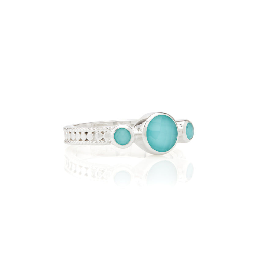 Limited Edition Turquoise Triple Stone Stacking Ring - Silver