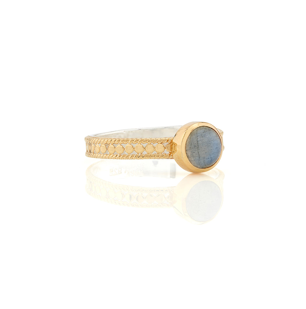 Labradorite Single Stone Stacking Ring - Gold