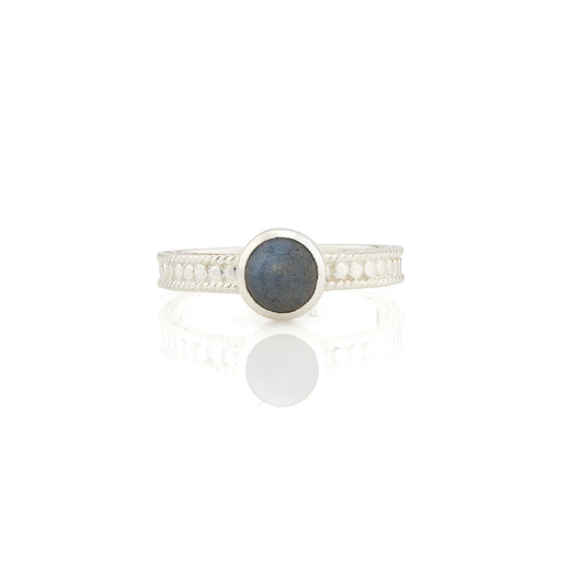 Labradorite Single Stone Stacking Ring - Silver
