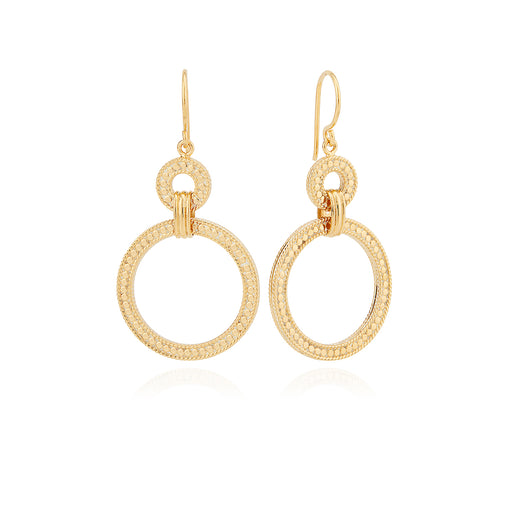 Dotted Double Hoop Earrings - Gold