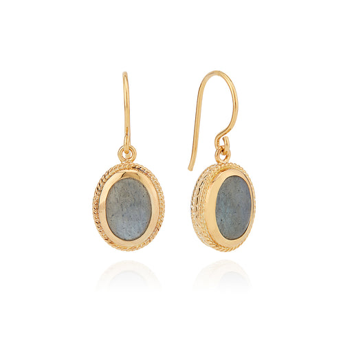 Labradorite Drop Earrings - Gold