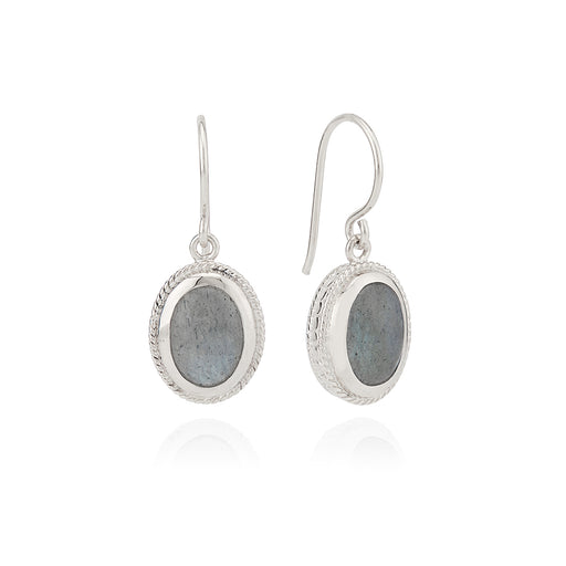 Labradorite Drop Earrings - Silver