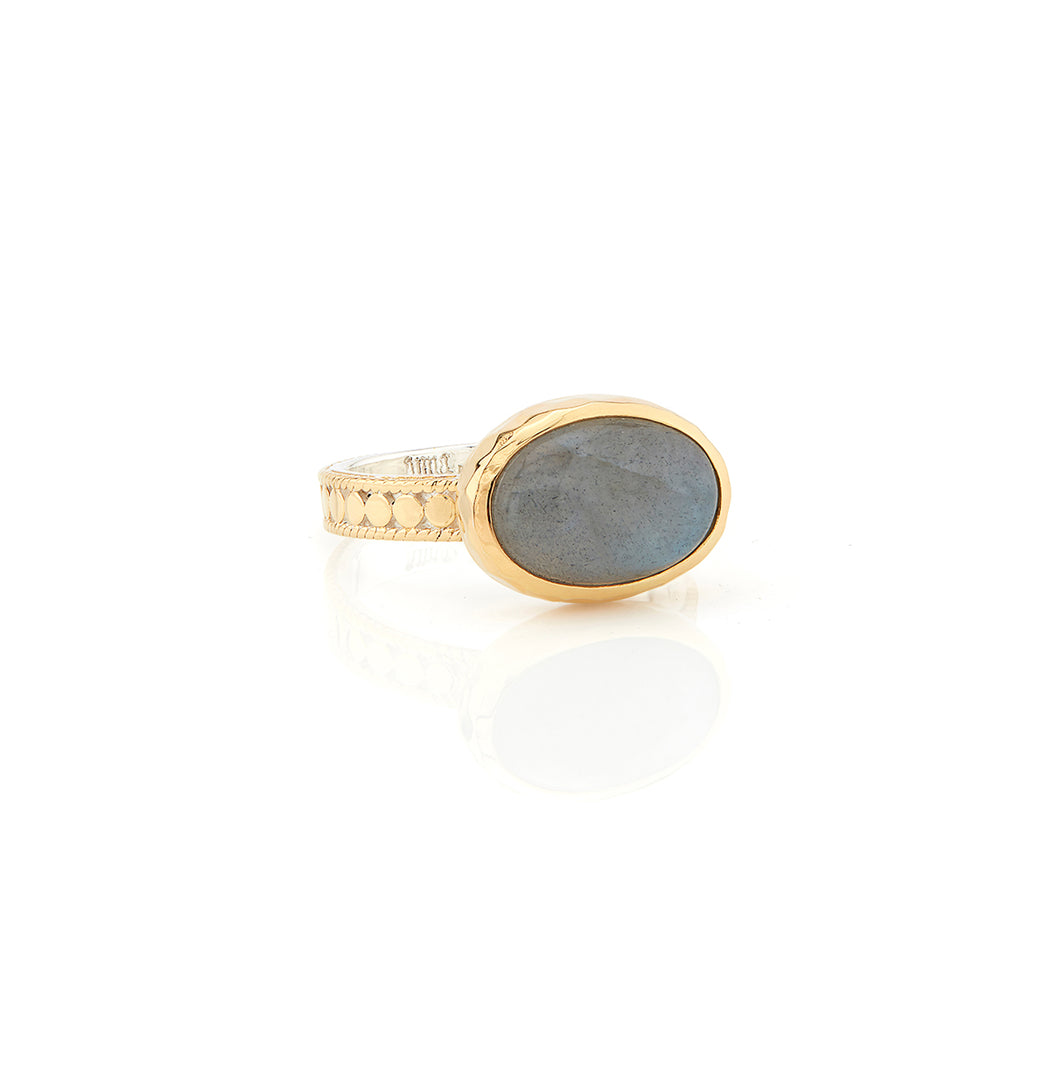 Labradorite Oval Ring - Gold