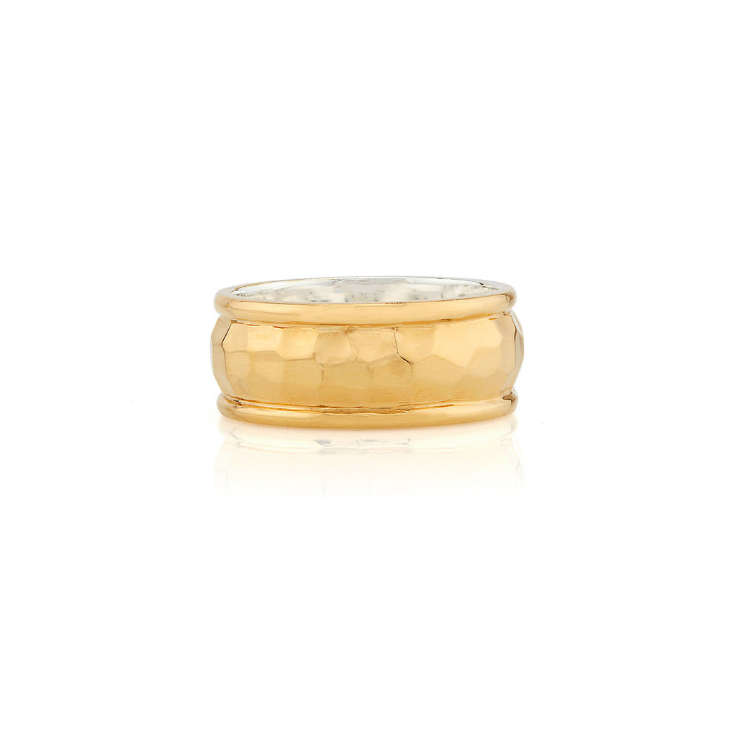 Hammered Cigar Ring - Gold