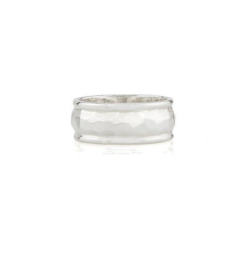 Hammered Cigar Ring - Silver