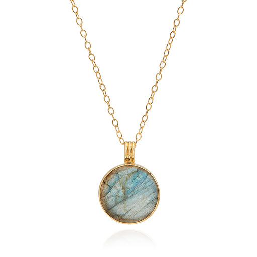 Large Labradorite Pendant Necklace - Gold