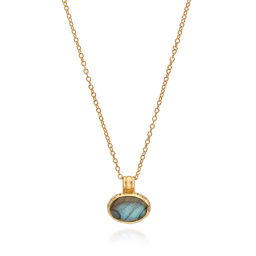 Small Labradorite Pendant Necklace - Gold