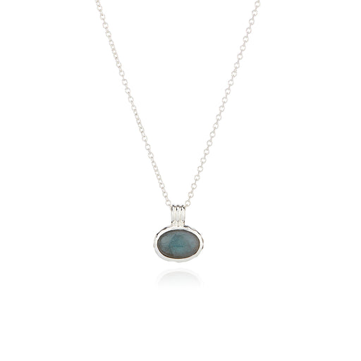Small Labradorite Pendant Necklace - Silver