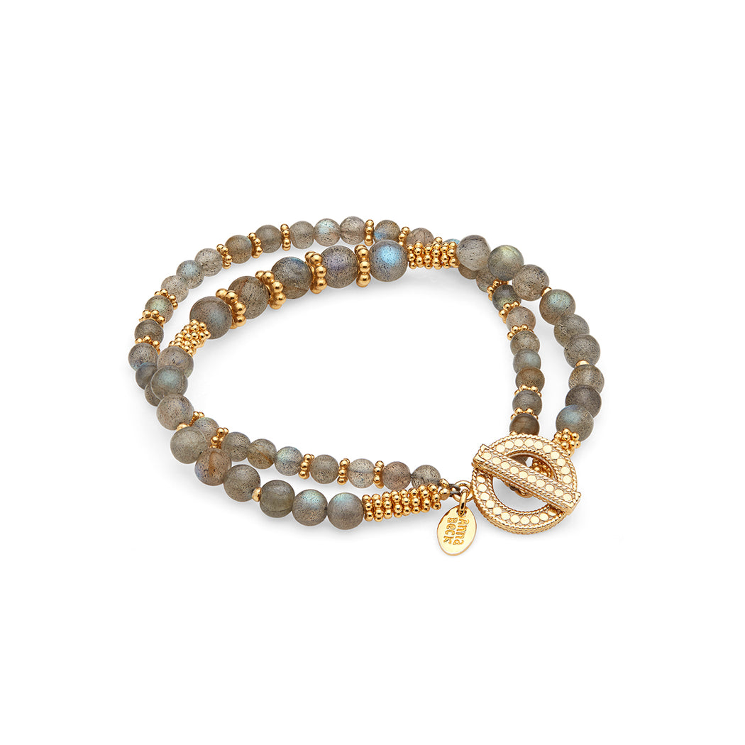 Limited Edition Labradorite Double Beaded Stacking Bracelet