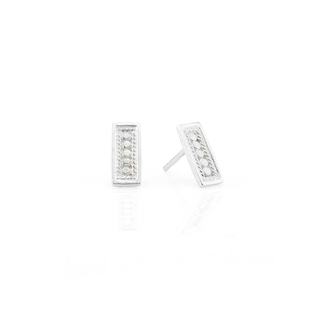 Beaded Bar Stud Earrings - Silver