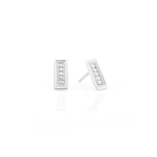 Bar Stud Earrings - Silver