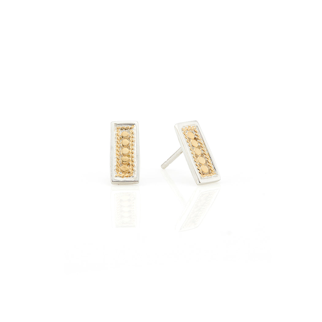 Beaded Bar Stud Earrings - Gold