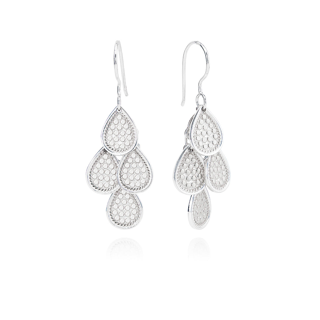 Beaded Chandelier Earrings - Silver