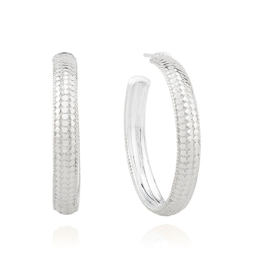 Large Dome Hoop Earrings - Silver