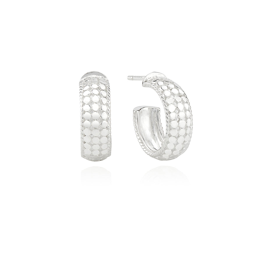 Small Dome Hoop Earrings - Silver