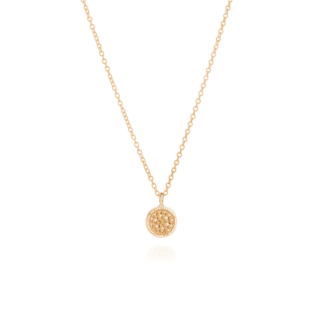 Small Dotted Disc Necklace - Gold