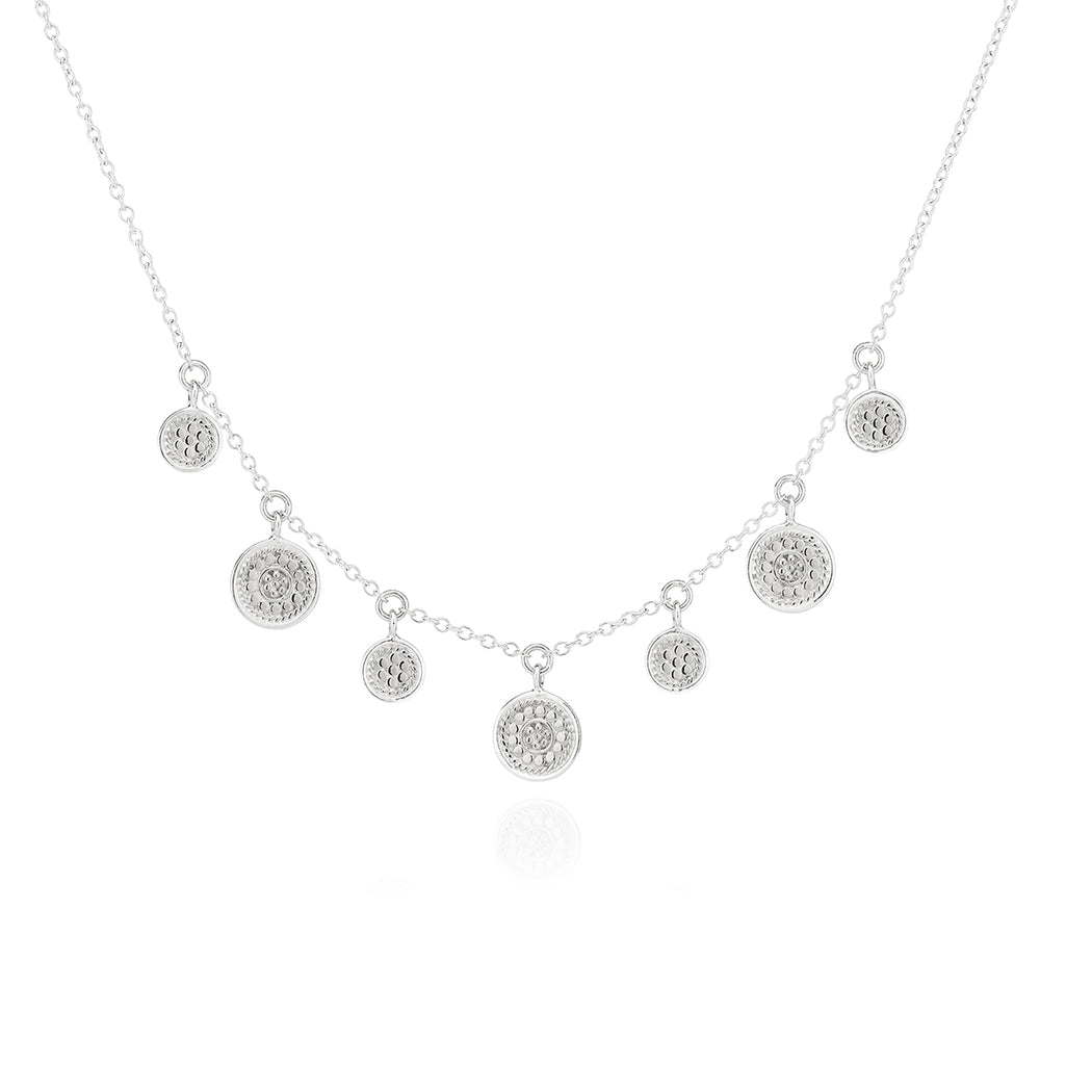 Mini Disc Charm Necklace - Silver