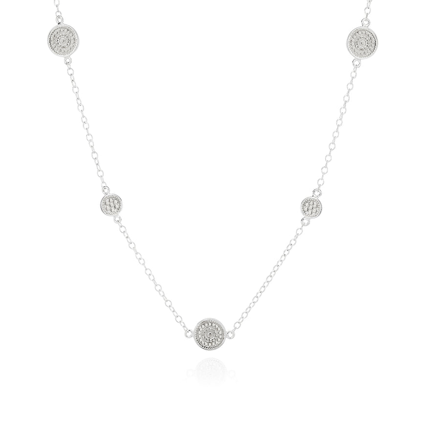 Long Dotted Station Necklace - Silver