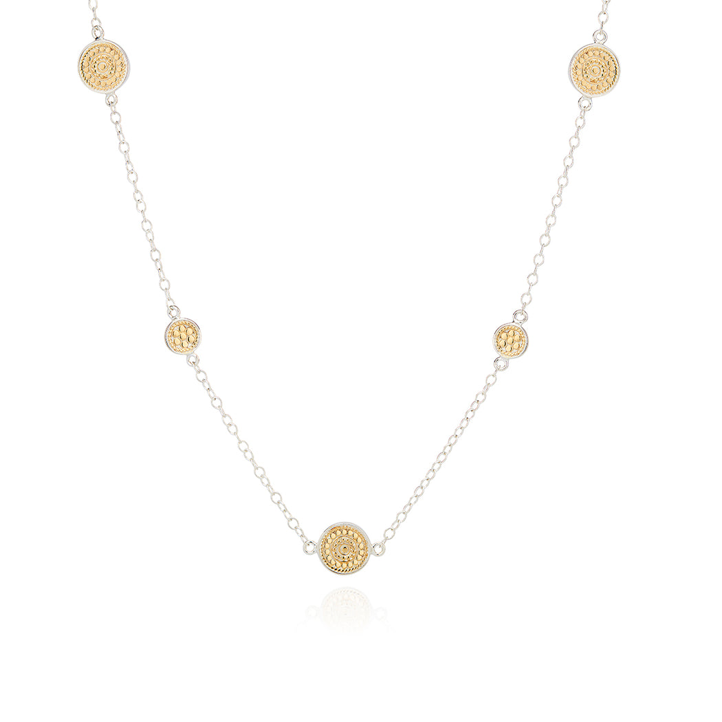 Long Dotted Station Necklace - Gold