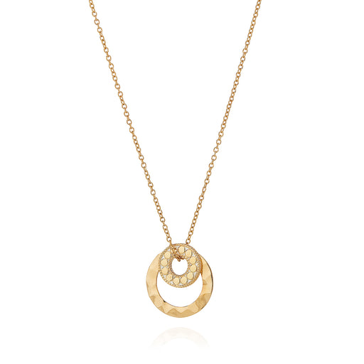 Hammered Double Circle Necklace - Gold