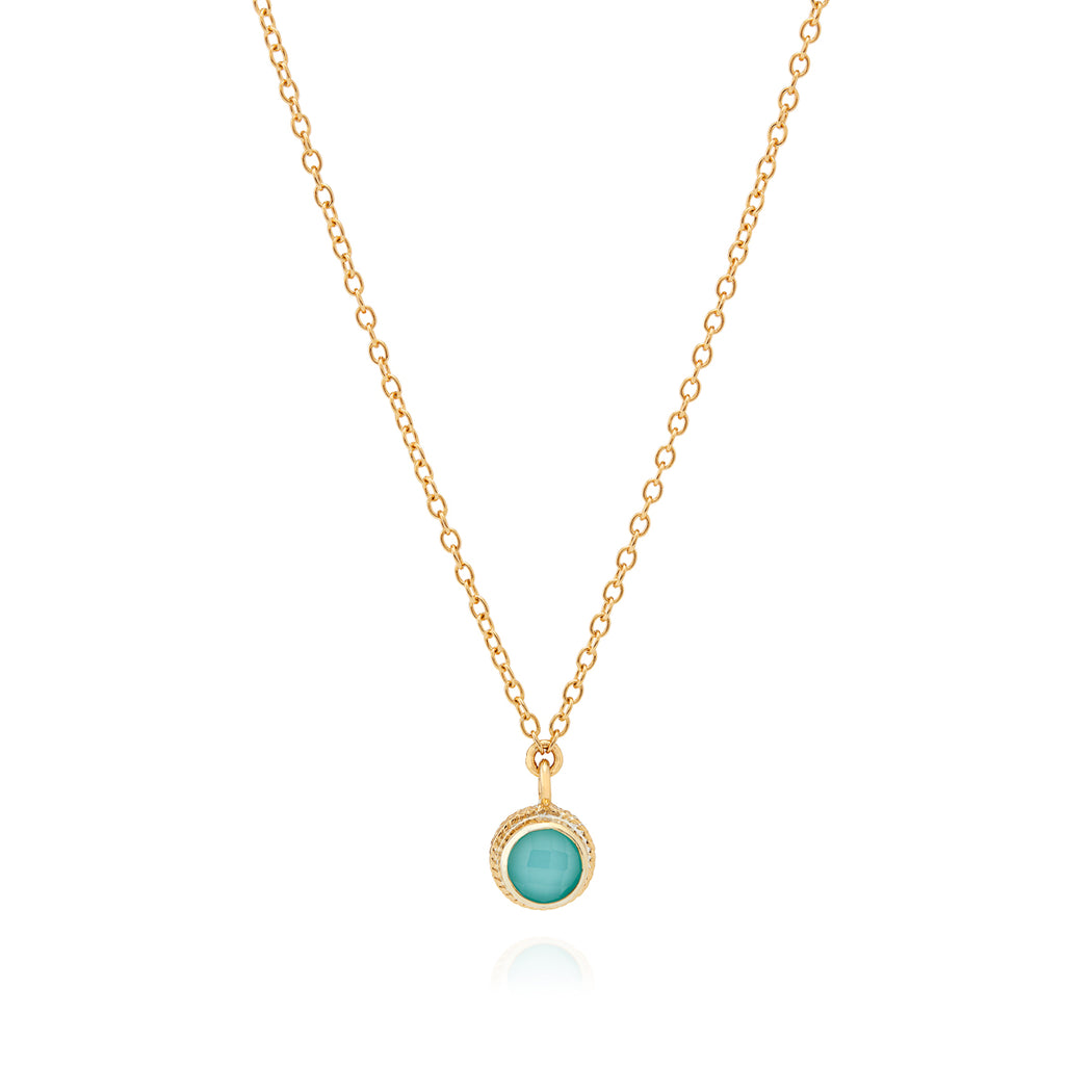 Limited Edition Turquoise Single Stone Stacking Necklace - Gold
