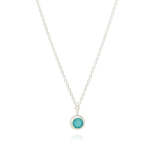 Limited Edition Turquoise Single Stone Stacking Necklace - Silver