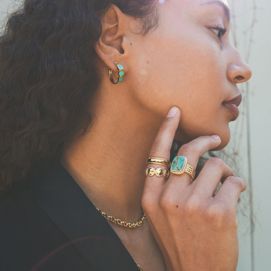 Turquoise Multi-Stone Hoop Earrings