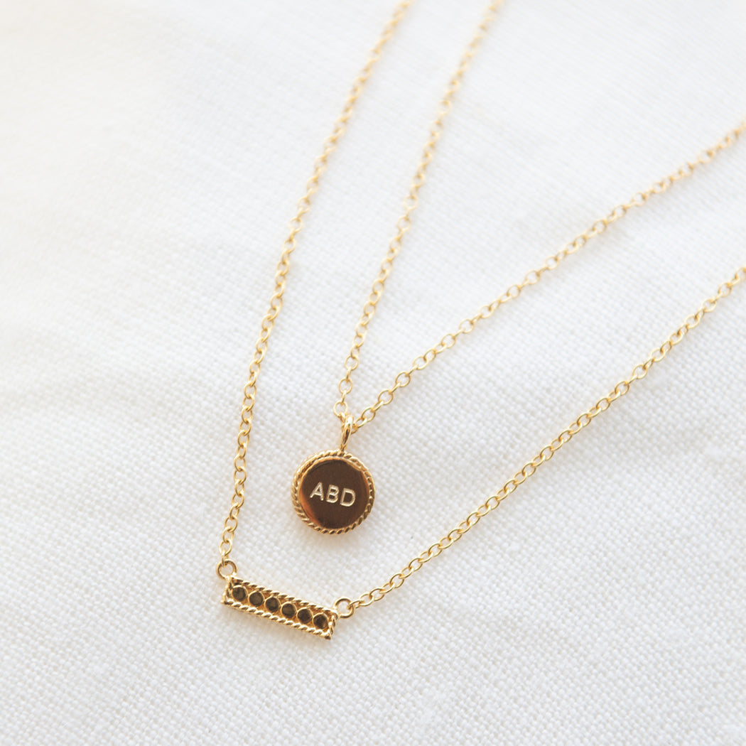 Engravable Mini Circle Necklace - Gold