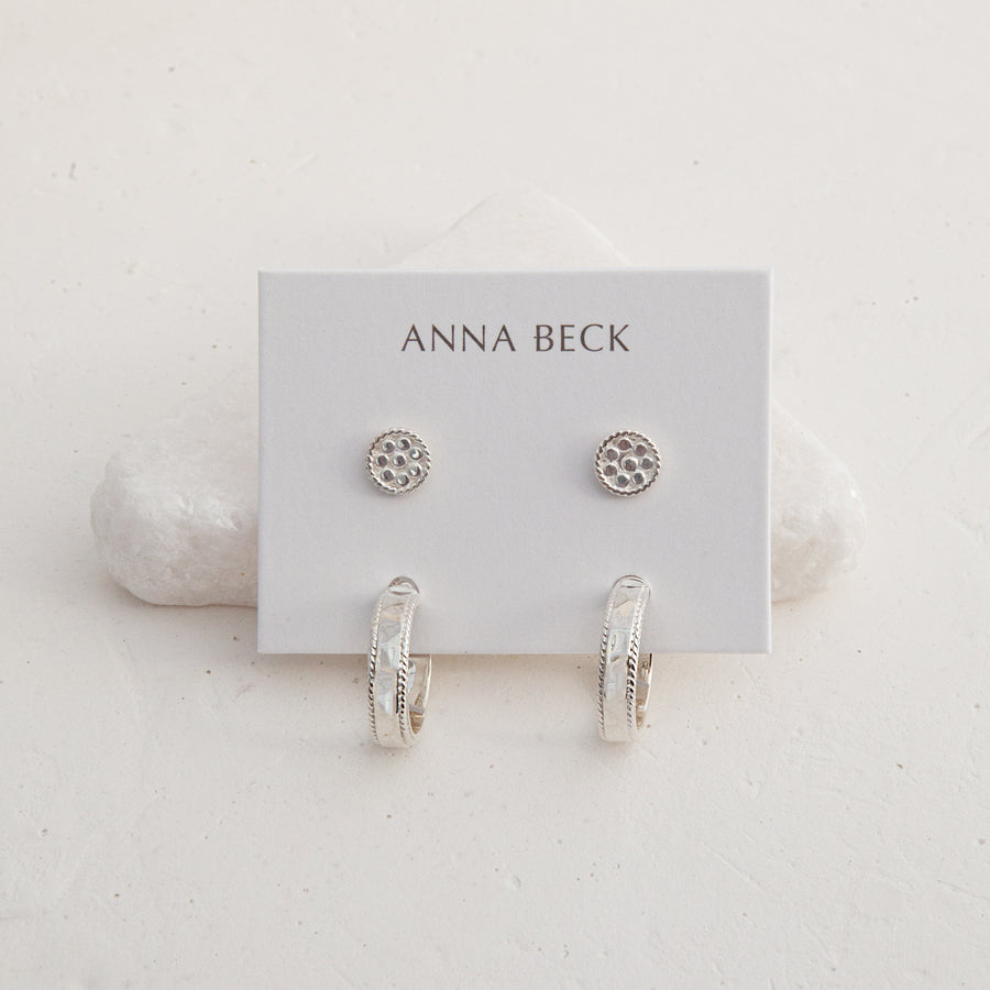 Hammered & Dotted Earring Set - Silver
