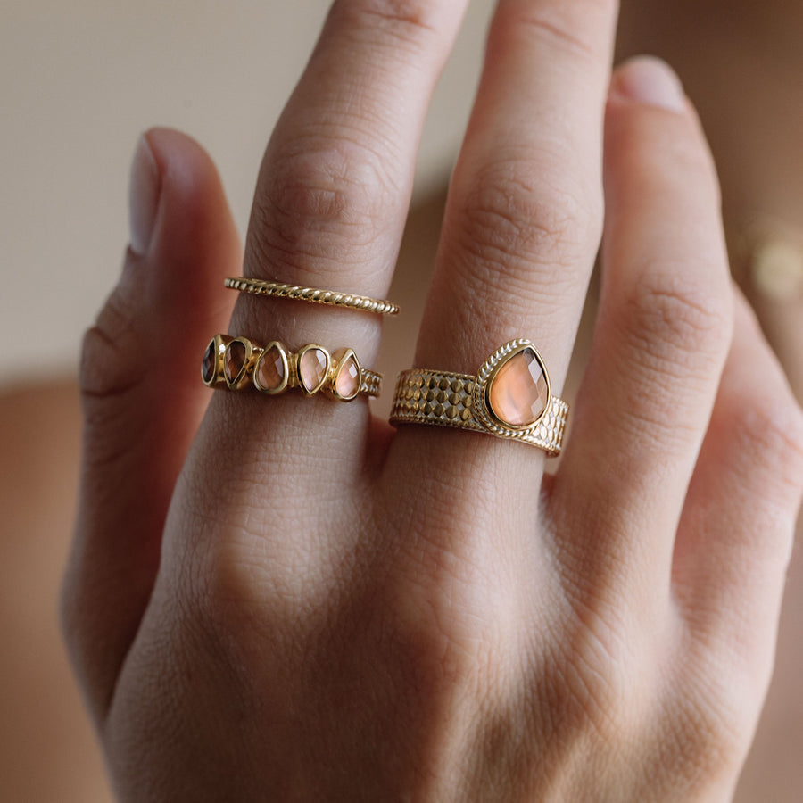 Pink Quartz Multi-Drop Ring