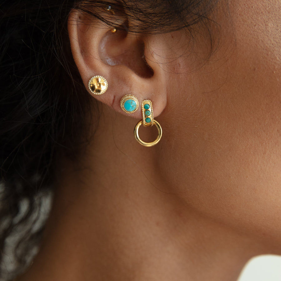 Turquoise Smooth Dome Drop Earrings