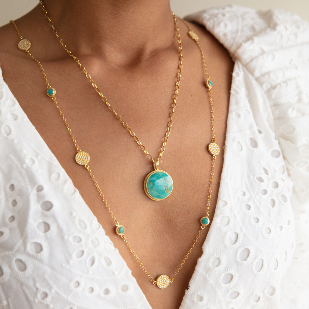 Long Turquoise Multi-Disc Station Necklace