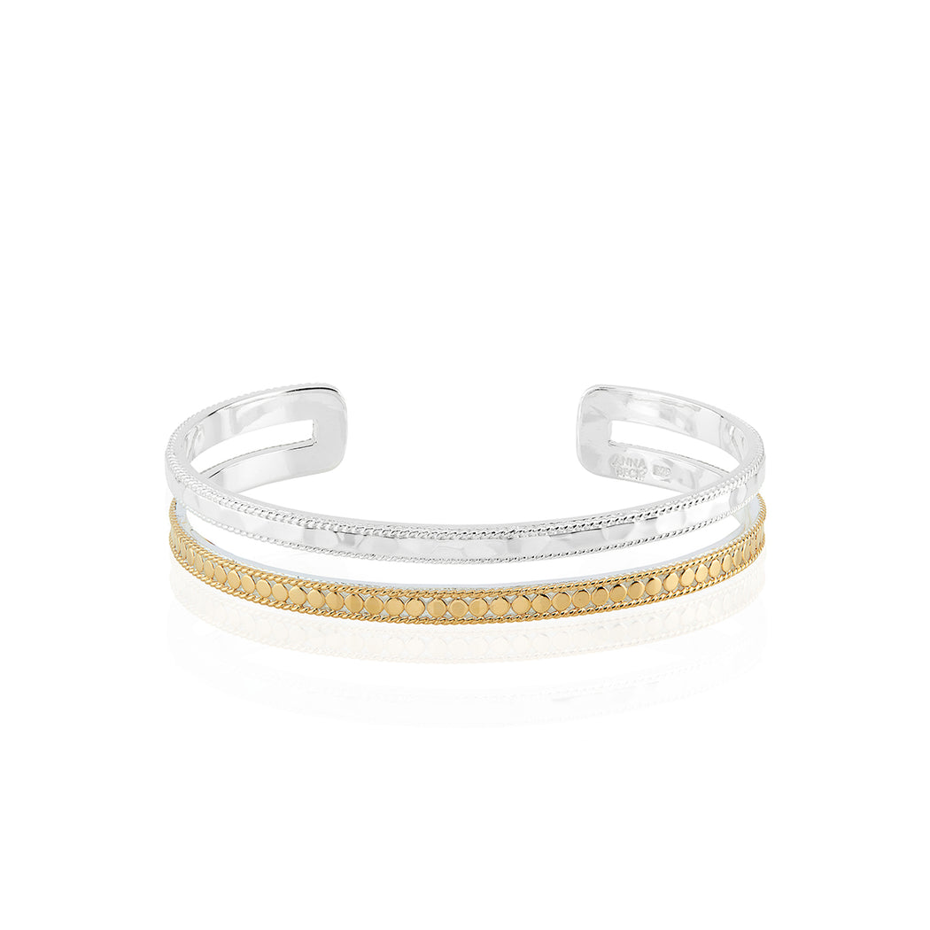 Signature Hammered and Dotted Double Band Cuff - Gold & Silver