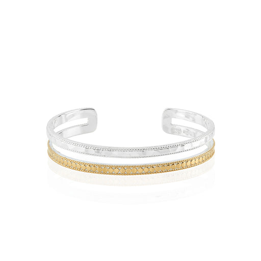 Hammered and Dotted Double Band Cuff - Gold & Silver