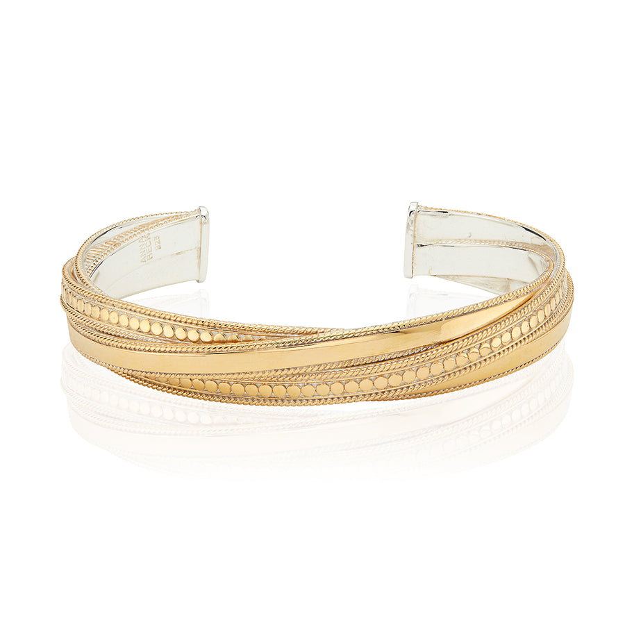 Mixed Metal Twisted Cuff - Gold