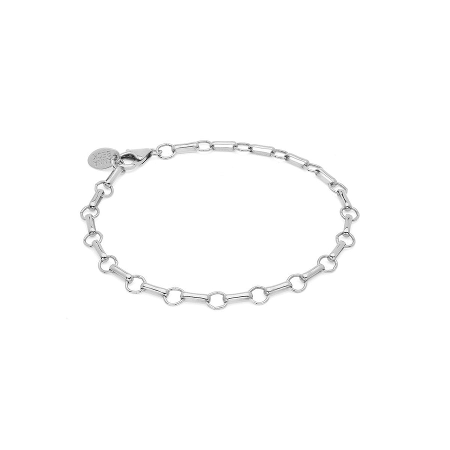 Bar & Ring Chain Bracelet - Silver