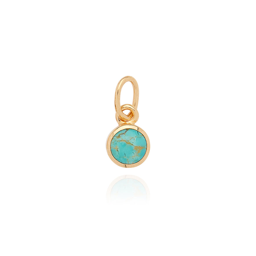 Engravable Turquoise Circle Charm