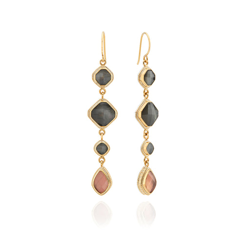 Grey and Pink Quartz Multi-Drop Earrings