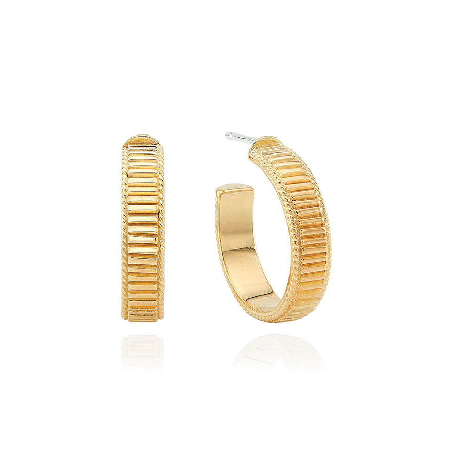 Medium Linear Hoop Earrings - Gold