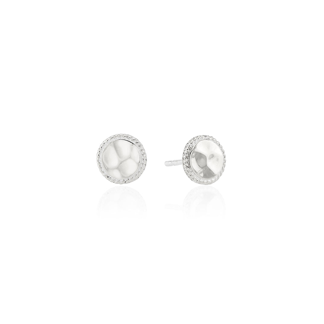 Signature Hammered Stud Earrings - Silver
