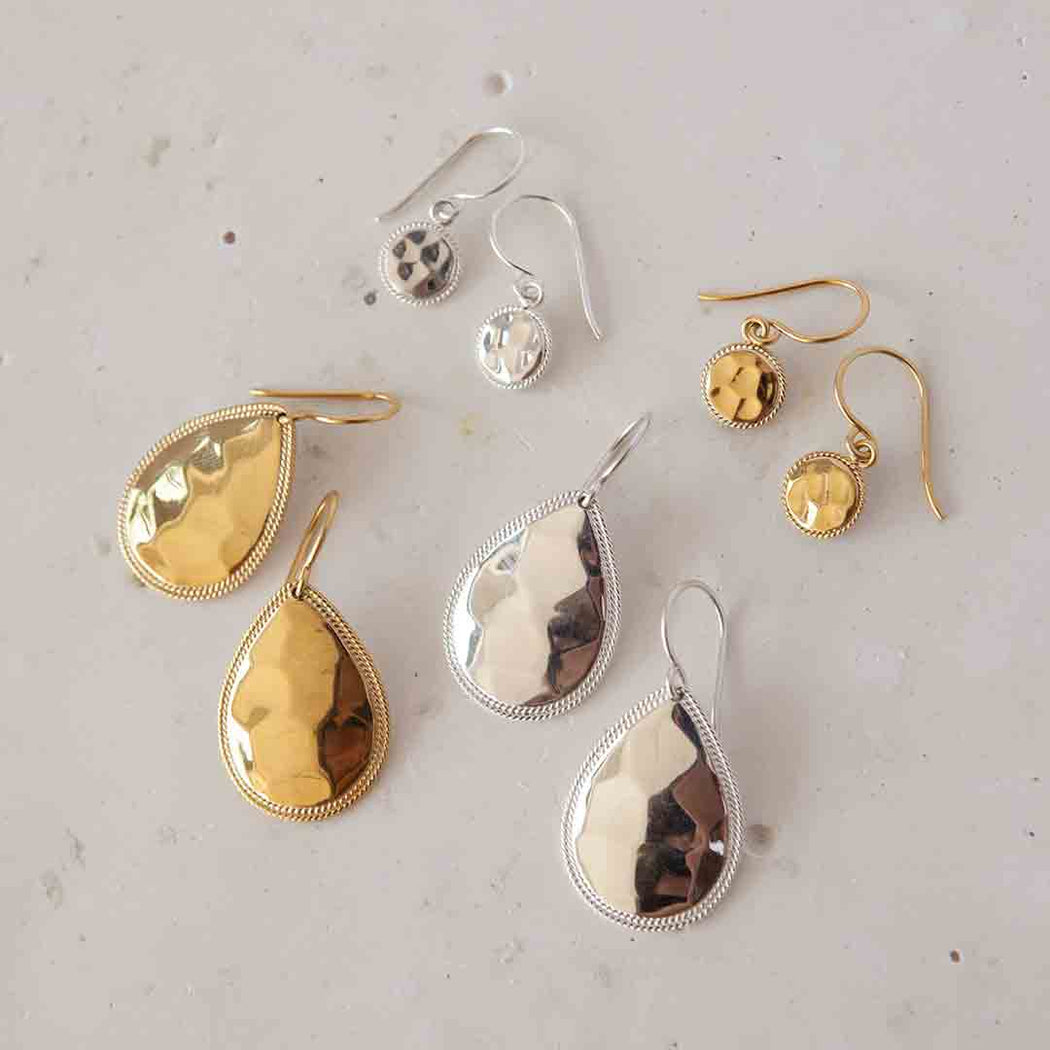 Signature Small Hammered Drop Earrings - Gold