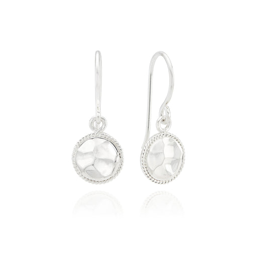 Signature Small Hammered Drop Earrings - Silver