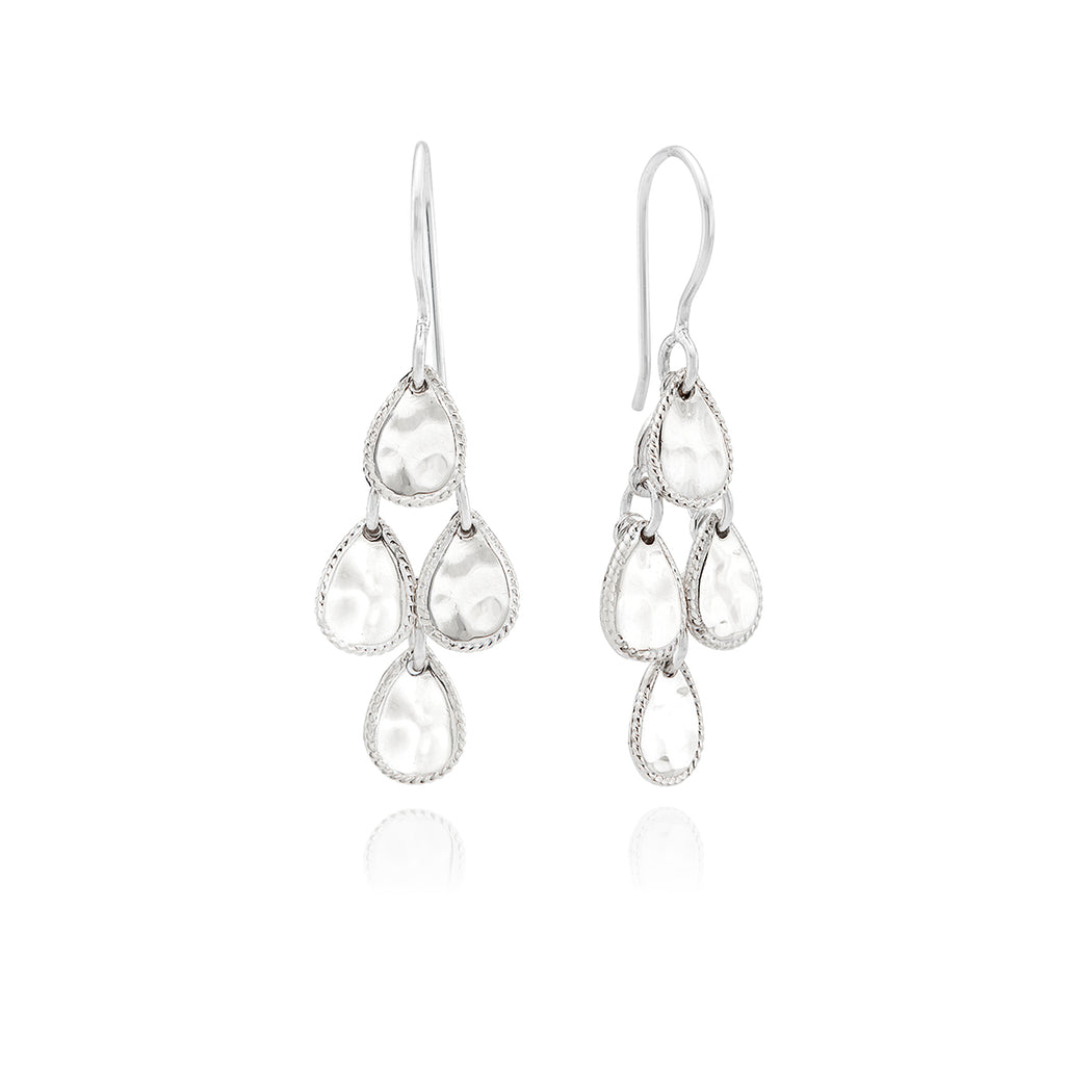 Signature Hammered Chandelier Earrings - Silver