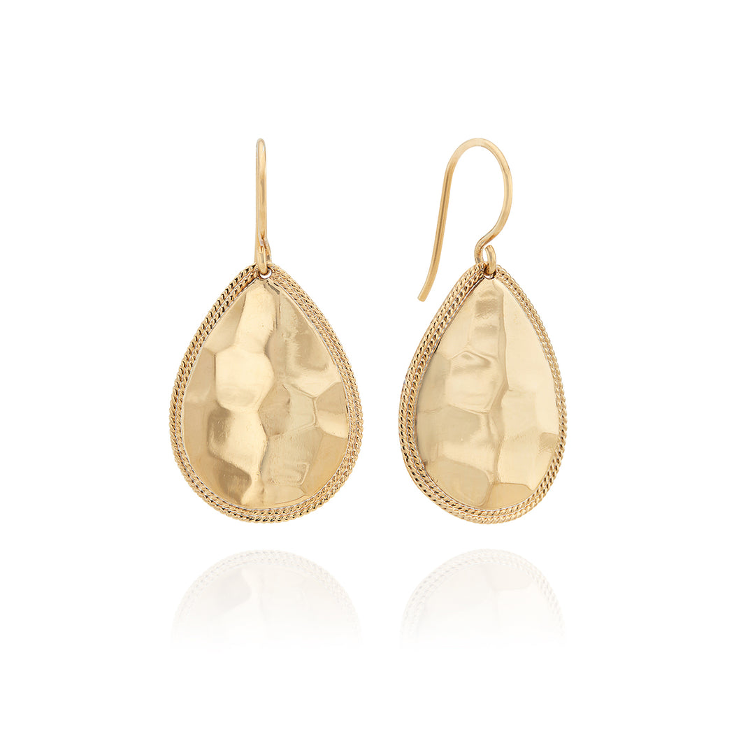 Signature Hammered Medium Teardrop Earrings - Gold