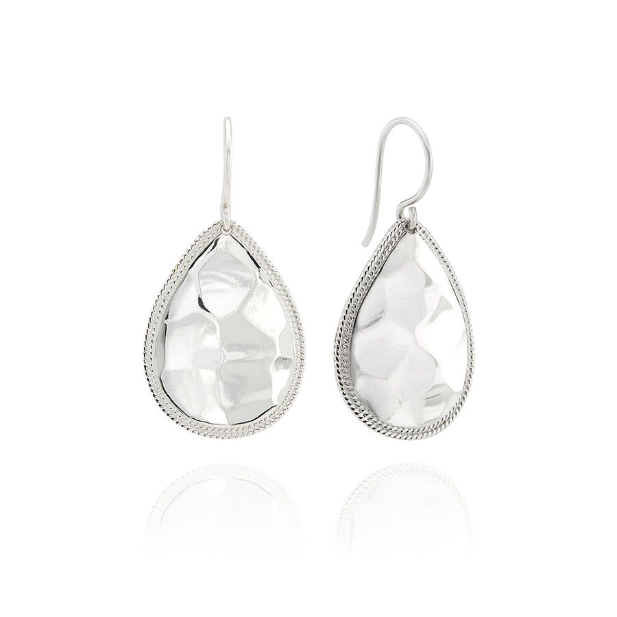 Medium Hammered Teardrop Earrings - Silver