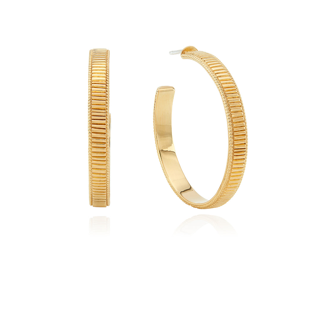 Large Ribbed Hoop Earrings - Gold
