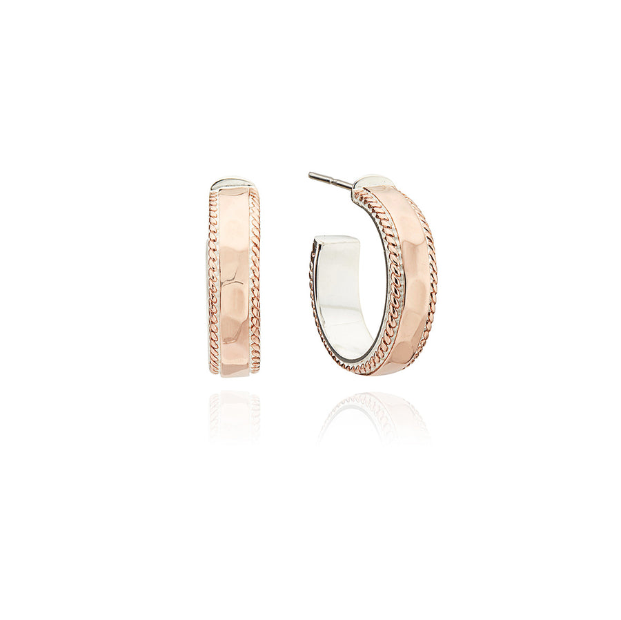 Small Hammered Hoop Earrings - Rose Gold